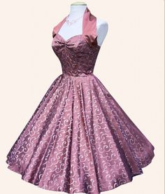 Vivien of Holloway - Silver Lace Dress Dusky Pink Satin Vintage Fashion 1950s, Mode Vintage, Retro Vintage, Dress Up, Lace Dress, Vintage Dresses, Vintage Outfits, Vintage Clothing, 1950s Dresses