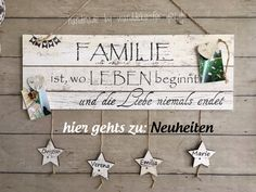 Wanddeko FOR YOU Handmade Schilder Vintage Shabby chic individualisier - Diy Crafts For Bedroom, Easy Diy Crafts, Diy Craft Projects, Diy Crafts For Kids, Handmade Crafts, Vintage Banner, Crafts To Make And Sell, Sell Diy, Wooden House Decoration