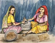 """""""Indian women grinding grain"""" watercolor and ink pen on paper by Pushpa Sharma from www.pushpaartgallery.com"""