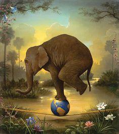 Elephant on a ball on a rope by kevinsloan.com