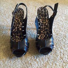 Black heels Black heels. Super cute with adjustable strap. Peep toe style. Shoes Heels