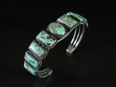 Rectangle and Oval Green Turquoise Row Bracelet 8