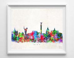 Kiev Skyline Print, Ukraine Print, Kiev Poster, Watercolor Art, Wall Decor, Dorm Room Decor, City Skyline, Giclee Art, Gift For Couple