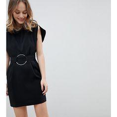 ASOS PETITE Split Cap Sleeve Mini Dress with Modern Ring Belt ($60) ❤ liked on Polyvore featuring dresses, black, petite, petite denim dress, short denim dress, lbd dress, short petite dresses and day to night dresses