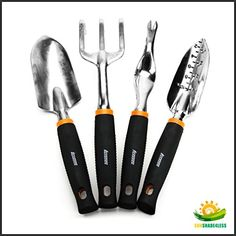 Garden Tool Set 4 Piece Trowel Cultivator Weeder Transplanter Black Kit * Check this awesome product by going to the link at the image. Garden Tool Storage, Garden Tool Set, Garden Power Tools, Gardening Tools, Hand Wrist, Garden Care, Tools And Equipment, Garden Trowel, Amazing Gardens