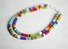 Multicolor TwoStrand Striped Necklace by HeriniasJewelryChest, $86.00