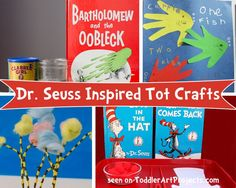 FREE--Dr. Seuss crafts explore art around the popular kids stories. My little ones love reading Dr. Seuss and we've got quite a collection! Here are some Dr. Seuss crafts and art projects for your toddlers to create. Dr. Seuss Crafts One Fish, Two Fishfrom Vanessa's Blog Cat in the Hatfrom Living Montessori Now Horton Hears …