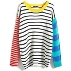 Fair+True New  Fairly Made Bright Stripes Jumper (€58) ❤ liked on Polyvore featuring tops, sweaters, stretchy tops, jumper top, white sweater, jumpers sweaters and white top