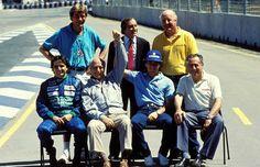 500th F1 WC Race Photo (Australia 1990) (Back row:) James Hunt, Jackie Stewart, Denny Hulme             (Fron row:) Nelson Piquet, Juan Manuel Fangio, Ayrton Senna, Jack Brabham
