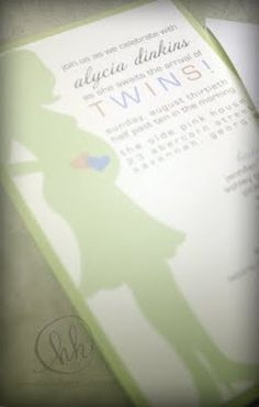 Twin baby invitation by HH Design House.  Please email info@hhdesignhouse.com for information and pricing.