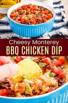 Monterey Chicken Dip - everything you love about the popular restaurant dish in a hot and cheesy dip recipe. Serve this appetizer with chips and veggies at your next holiday or football party and everyone will beg for the recipe. Just a handful of ingredients including shredded chicken, your favorite BBQ sauce, bacon and cheddar and Monterey Jack from my partner @cabotcheese. Naturally gluten free and easy to make low carb too. Find out how to make it from Cupcakes