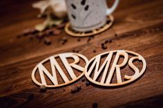 MR-MRS-Wooden Coaster for mug-laser cut-set-for couple-for tea or coffe & Wedding Cups, Wooden Coasters, Laser Cutting, Coffee Cups, Tea, Mugs, Unique Jewelry, Handmade Gifts, Couple