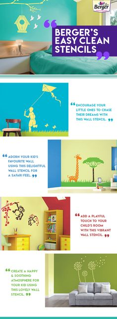 Explore a range of playful and fun wall stencils for your kids room. #BergerEasyClean