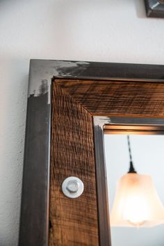 Rustic Industrial Mirror Frame – Reclaimed Barn Wood & Raw Steel - All For House İdeas Industrial Mirrors, Rustic Mirrors, Vintage Industrial Furniture, Rustic Industrial, Rustic Furniture, Furniture Design, Welded Furniture, Iron Furniture, Steel Furniture