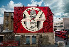 New - Shepard Fairey piece in London. Shepard Fairy, New Shepard, Inside Out Project, Modern Art, Contemporary Art, Red Paint, Street Artists, Graffiti Art, Urban Art