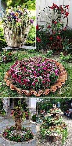 MENTŐÖTLET - kreáció, újrahasznosítás: Virágos kert Garden Deco, Garden Yard Ideas, Diy Garden Projects, Easy Garden, Garden Crafts, Diy Planters, Back Gardens, Front Yard Landscaping, Raised Garden Beds