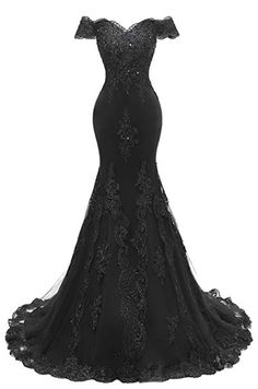 Shadi Bridal 2019 Women's Beaded Lace Long Mermaid Prom Gowns Off Shoulder Evening Dresses Black Wedding Gowns, Gothic Wedding, Mermaid Prom Dresses Lace, Black Mermaid Dress, Mermaid Mermaid, Off Shoulder Evening Dress, The Dress, Beautiful Gowns, Pretty Dresses