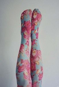 I just love floral tights! Leggings, Floral Tights, Winter Tights, Thigh High Socks, Thigh Highs, Mori Girl Fashion, Silk Stockings, Stocking Tights, Pastel Floral