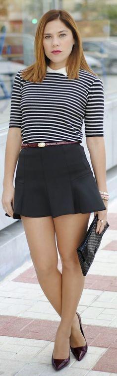 Zara Black And White Striped Blouse