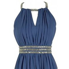 Silver Beaded Waistband Chiffon Designer Dress by Minuet in Blue