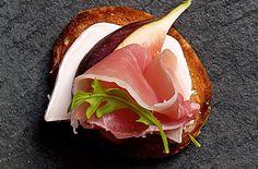 Yes please - crostini, goat cheese, fig, and serrano ham~