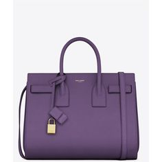 Saint Laurent Classic Small Sac De Jour Bag In Violet Leather ($2,750) ❤ liked on Polyvore