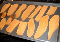 Ingredients: 1 Large Sweet Potato, washed & dried Preheat oven to 250° F Line a baking sheet with parchment paper.  Having a stable area to rest the potato will make it easier to cut the potato into slices. Don't discard that first piece, it comes out just as yummy as the rest! Cut the rest of the potato into 1/3