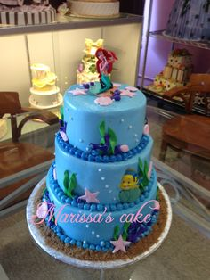 Little mermaid birthday cake. Visit us Facebook.com/marissa'scake or www.elmanjarperuano.com