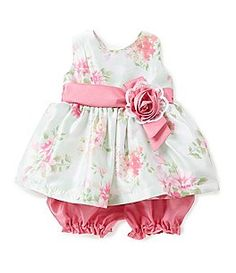 Baby Girls Floral Sleeveless Sun Dress Cream Cherokee Baby