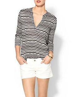 cute look:  Aztek Stripe Arabella Top + White Shorts / Velvet