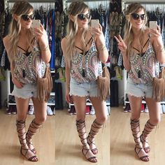 Festival style outfit / Tall gladiators and fringe bag / A.Co est. 1984: Weekend Recap: iPhone Snaps