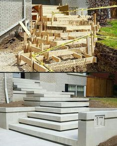 The video consists of 23 Christmas craft ideas. Outdoor Steps, Patio Steps, Concrete Stairs, Concrete Houses, Backyard Garden Design, Yard Design, Ideas Terraza, Landscape Stairs, Garden Stairs