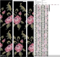 22 around bead crochet rope pattern. For necklaces and bracelets etc. Rose flowers on dark background. Bead Crochet Patterns, Bead Crochet Rope, Peyote Patterns, Beading Patterns, Beaded Crochet, Beaded Flowers, Crochet Flowers, Rose Flowers, Beaded Wrap Bracelets