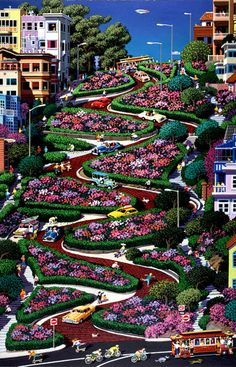 Lombard Street, San Francisco, in full bloom.