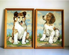 Vintage Paint by Numbers Paintings Dogs Collie by CalloohCallay