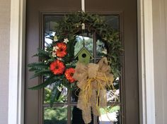 AUTUMN...2015...Door to den/MBR suite from the little porch out back. Loved making different fall wreaths for all my exterior doors. This is the ivy wreath that was already on the door...just dressed it for autumn by adding some pumpkins!!!
