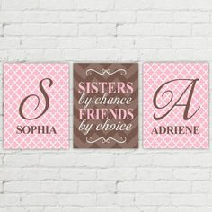 Sisters by chance friends by choice - twin girls nursery quote - pink and brown - sisters wall art decor - sisters room art - twin gift Twin Girl Bedrooms, Girls Bedroom, Twin Girls, Room Girls, Bedroom Ideas, Baby Girls, Nursery Twins, Nursery Art, Baby Twins