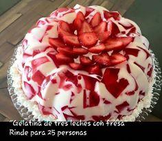 Tres Leches with strawberries gelatin Jello Cake, Jello Desserts, No Bake Desserts, Just Desserts, Delicious Desserts, Yummy Food, Gelatin Recipes, Jello Recipes, Mexican Food Recipes
