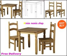 Up to 2 3 Table & Chair Sets Small Furniture, Kitchen Furniture, Dining Set, Dining Chairs, Table And Chair Sets, Rustic Style, Solid Wood, Pine, Garden