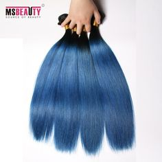 Msbeauty Brazilian Weave Hair Grade 7A color 2T ombre human Hair Extension1B/BLUE#Straight  Hair