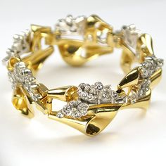 Gold Swirls with Pave and Baguette Flower Sprays Link Bracelet
