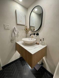 Black Hills Glazed Thin Brick Bathroom Floor | Fireclay Tile Brick Bathroom, White Bathroom Tiles, Bathroom Floor Tiles, Black Tiles, White Tiles, Herringbone Tile Pattern, Fireclay Tile, Glass Brick, Thin Brick