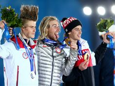 Sochi 2014 Day 2 - Medal Ceremony (L-R) Silver medalist Staale Sandbech of Norway, gold medalist Sage Kotsenburg of the United States and bronze medalist Mark McMorris of Canada on the podium during the medal ceremony for the for the Snowboard Men's Slopestyle
