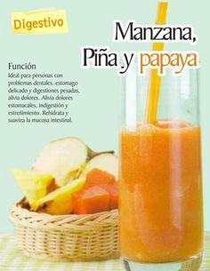 Manzana, piña y papaya