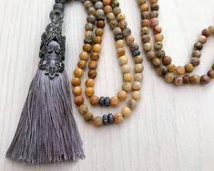 #forher #necklace #handmade #Boho #ethnic #jewlery #gifts #mala #style Long bead gray necklace, long gray tassel necklace, long gray mala necklace, long bead boho necklace, stylish gray necklace, gift for her