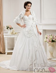Ball Gown Sweetheart Chapel Train Taffeta Wedding Dress With A Wrap - Wedding Dresses 2013 - Wedding Dresses - CDdress.com