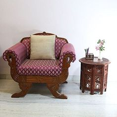 Jali Octagonal Round Brown Hand Carved Indian Shesham Wooden Coffee Table Side