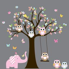 Wall Decals Nursery. Tree Decal. Wall Decal Tree. Tree and owls decals. Nursery wall decal. baby tree decal by wallartdesign on Etsy https://www.etsy.com/listing/121257916/wall-decals-nursery-tree-decal-wall