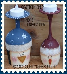 EPATTERN #0016 SNOWMAN AND PENGUIN WINE GLASS CANDLE HOLDER PAINTING PATTERN.    This is an EPATTERN where you can paint YOUR OWN wine glass