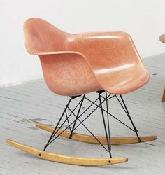 Vintage Eames RAR rocking chair in a perfectly faded hue of pink